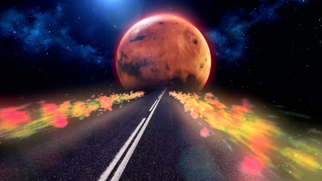 stockvideo's en b-roll-footage met snelweg naar mars. abstract, surrealistische hemel - psychedelisch