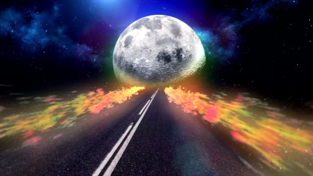 highway to moon. abstract, surreal sky - ethereal stock videos and b-roll footage