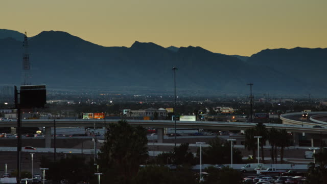 Highway Traffic Entering Las Vegas at Dusk