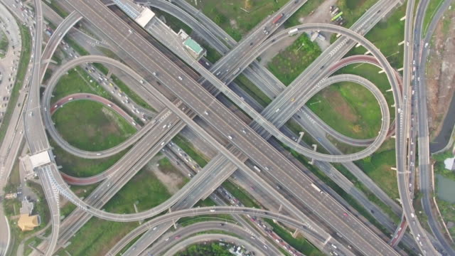 Highway traffic in Bangkok Thailand,aerial view