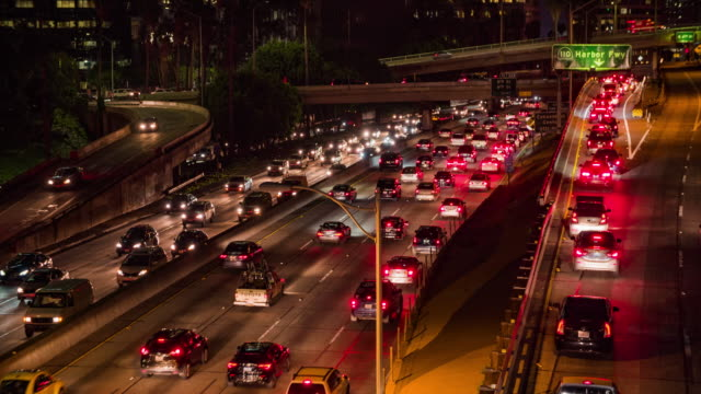 Highway traffic in downtown Los Angeles at night