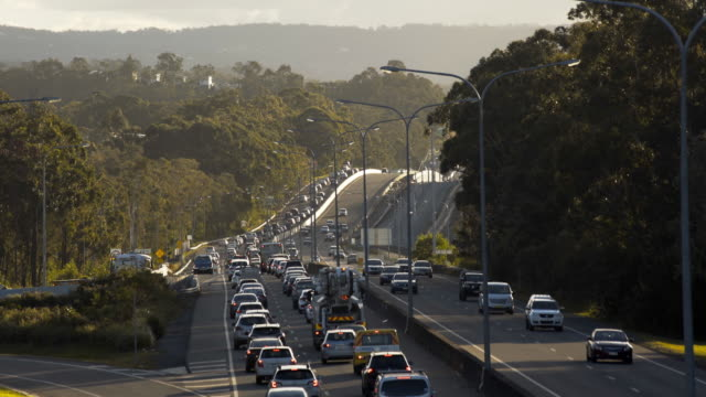 highway traffic jam at rush hour - 4k time lapse - queensland stock videos & royalty-free footage