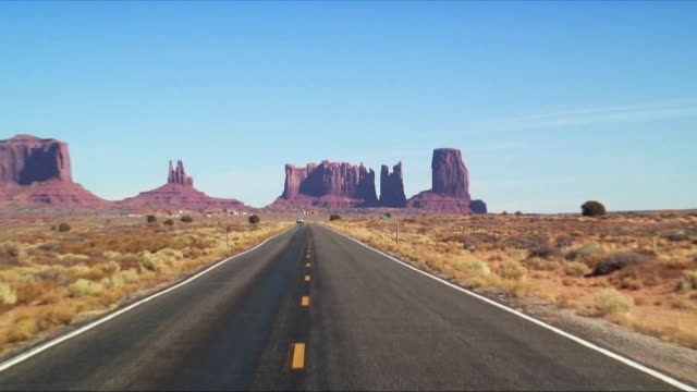 WS ZO Highway with Monument Valley rock formations in background, Arizona, USA