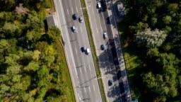 Highway with traffic. Aerial hyperlapse timelapse. UHD, 4K
