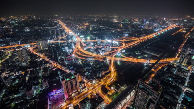T/L WS HA Highway with Traffic at Night / Bangkok, Thailand