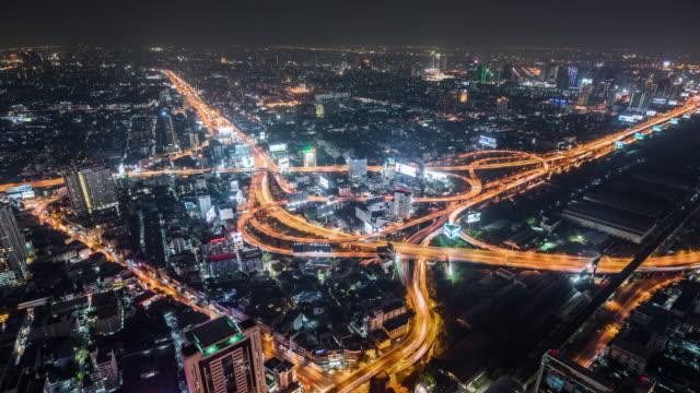 T/L WS HA ZO Highway with Traffic at Night / Bangkok, Thailand