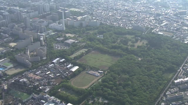aerial, hikarigaoka park, nerima, tokyo - baseball diamond stock videos and b-roll footage