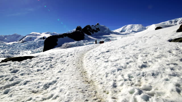 Hike in the snow mountain, Antarctica