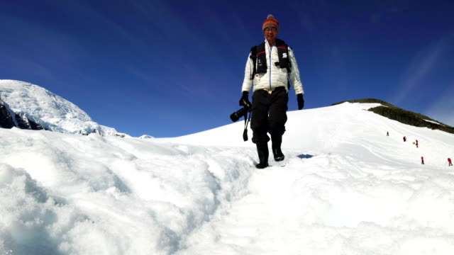 hike in the snow mountain, antarctica - antarctica people stock videos & royalty-free footage