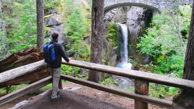hiker at christine falls in mount rainier national park washington usa - mt rainier national park stock videos & royalty-free footage