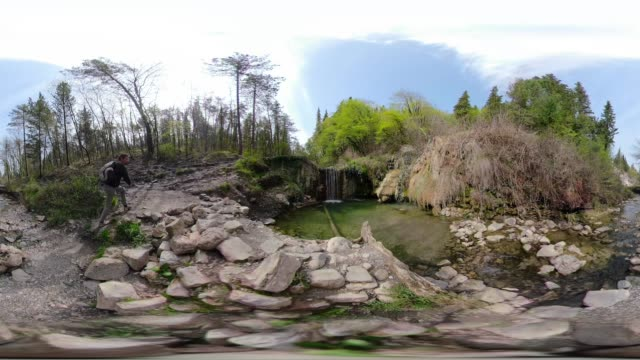 360 vr / a hiker at hot spring with thermal pool - 360 video stock videos & royalty-free footage