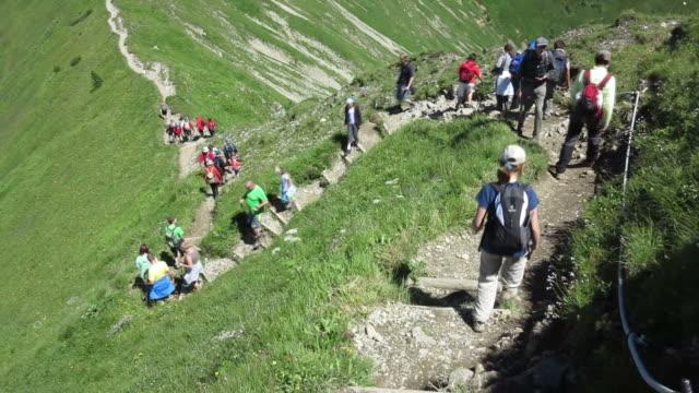 ms hiker at mount fellhorn near allgau alps / oberstdorf, bavaria, germany - tourismus stock-videos und b-roll-filmmaterial