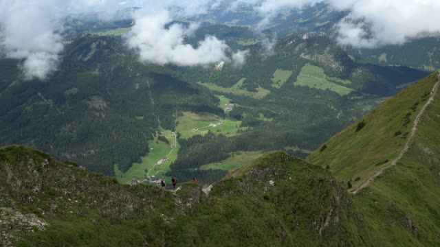 Hiker at the Fellhorn Mountain Mountain near Oberstdorf, Allg?u, Swabia, Bavaria, Germany