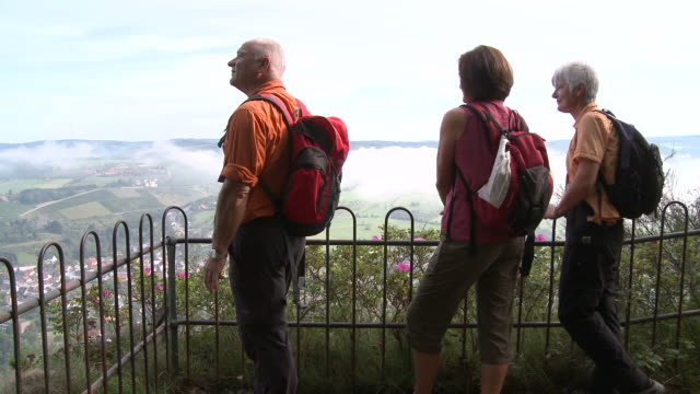 ms pan hiker at viewpoint / kastel-staadt, rhineland-palatinate, germany                            - newoutdoors stock videos & royalty-free footage