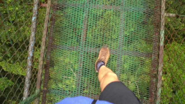 pov hiker crossing a footbridge - costa rica video stock e b–roll