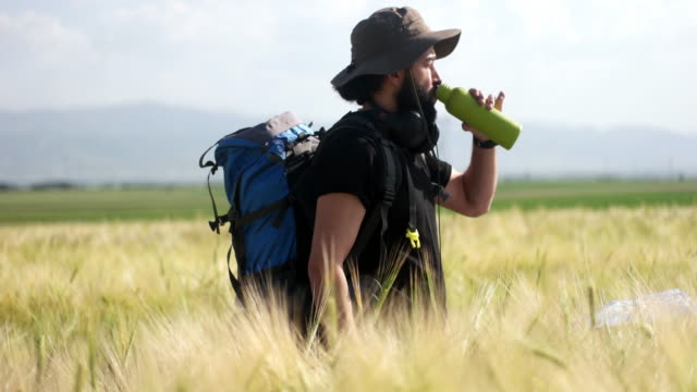 hiker drinking water - outdoor pursuit stock videos & royalty-free footage