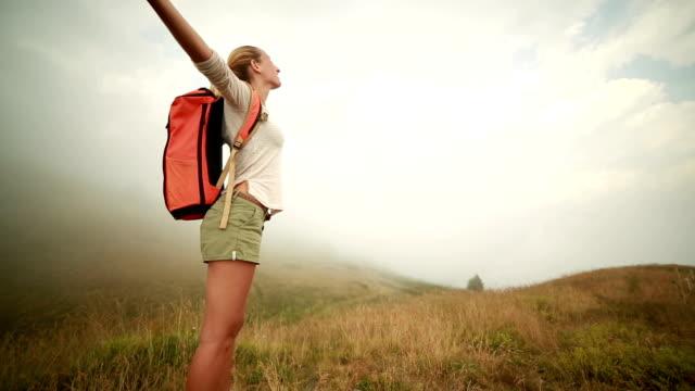 Wanderer genießen Sie die freie Natur