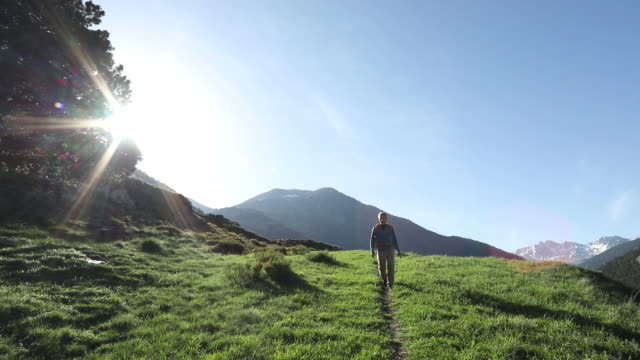 Hiker follows trail at sunrise, towards mountains