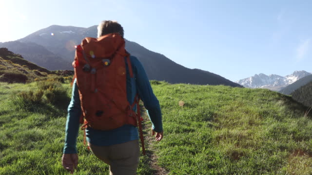 hiker follows trail at sunrise, towards mountains - one mature man only stock videos & royalty-free footage