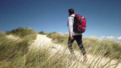 hiker in the dunes on the north sea island sylt - wanderer in den dünen von sylt - tina terras michael walter stock-videos und b-roll-filmmaterial