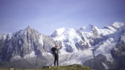 Hiker taking a selfie near Mont Blanc
