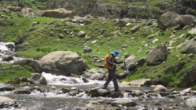 流れる渓流の上を歩くハイカー - 全身点の映像素材/bロール