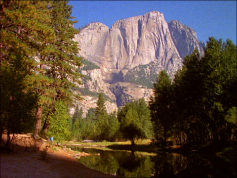 vidéos et rushes de hiker walking thru forest / mountains in background / yosemite national park, california - cinématographie