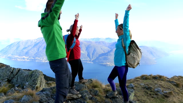 hikers celebrating success at mountain top - mountain range stock videos & royalty-free footage