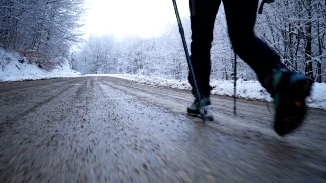 De wandelaar-poten lopen op een weg door besneeuwde bossen