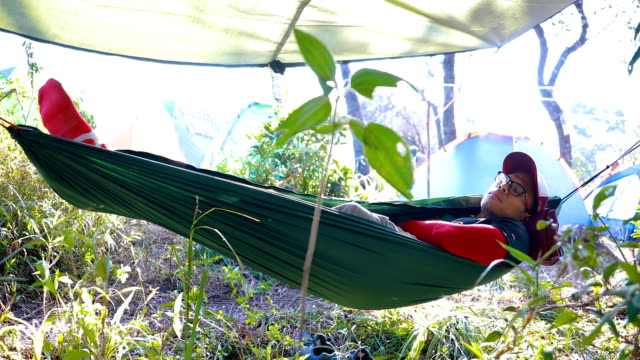 hikers sleeping on hammock in forest jungle - laziness stock videos & royalty-free footage