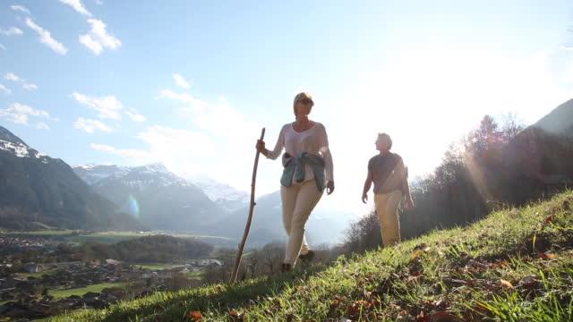 vídeos de stock e filmes b-roll de hiking couple ascend meadow slope, mountains distant - casal de meia idade