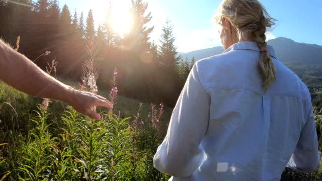 vidéos et rushes de les couples de randonnée traversent la pente de montagne au lever de soleil - couple d'âge mûr