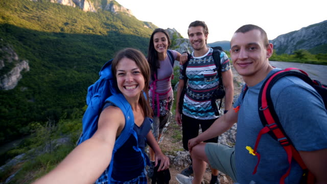 hiking friends group selfie - hiking pole stock videos & royalty-free footage