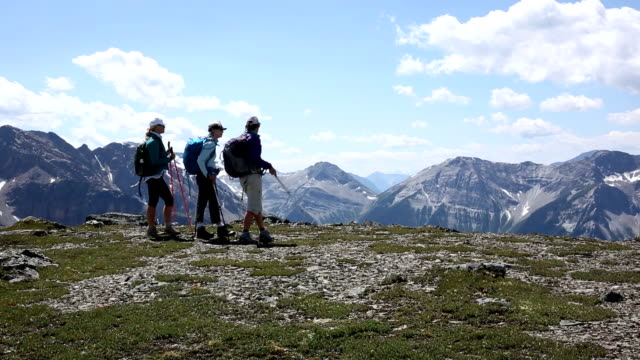 hiking friends look off from mountain ridge crest - hiking pole stock videos & royalty-free footage
