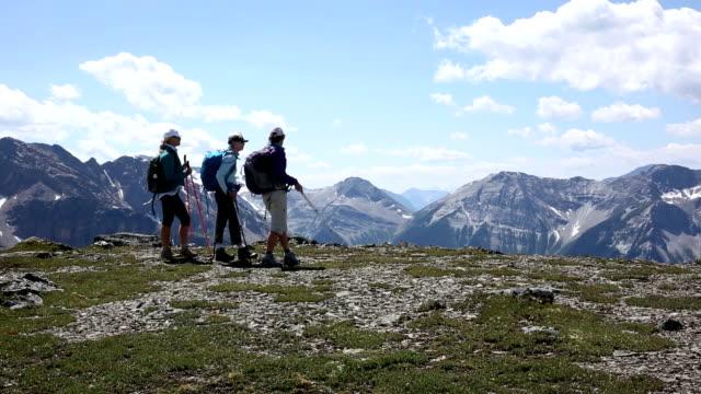 outdoor-freunde blick vom mountain ridge wappen - wanderstock stock-videos und b-roll-filmmaterial
