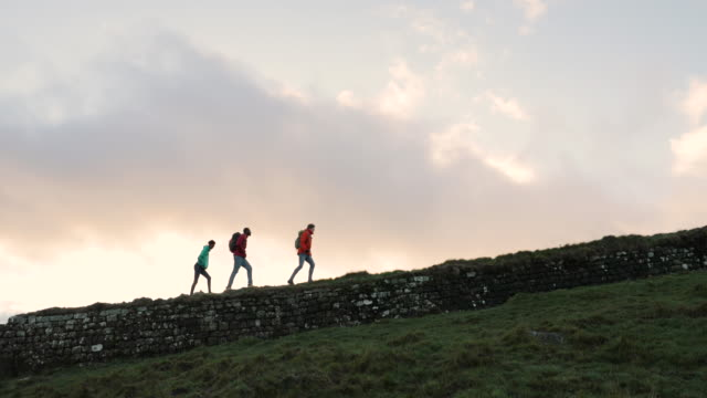 hiking hadrian's wall - british culture stock videos & royalty-free footage