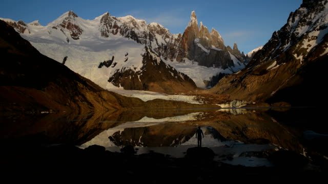 hiking in argentine patagonia with cerro torre - argentina stock videos & royalty-free footage