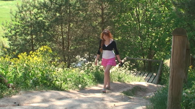 hiking in forest - mini skirt stock videos & royalty-free footage