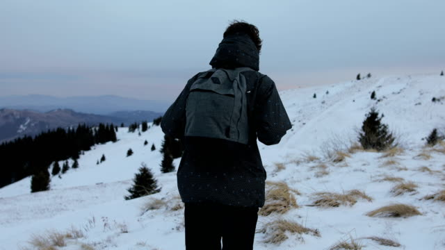 hiking in solitude - rear view stock videos & royalty-free footage