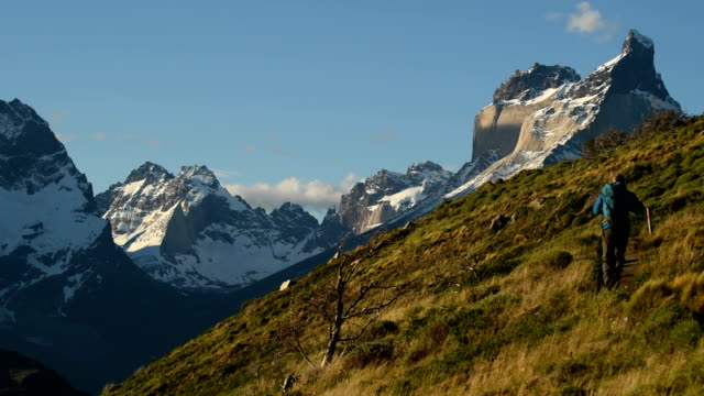 hiking in stunning torres del paine, chile - summit stock videos & royalty-free footage