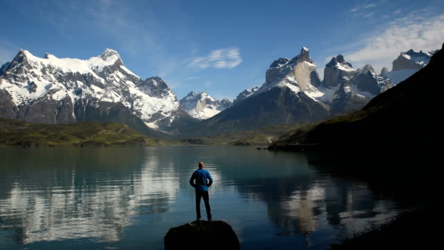 hiking in stunning torres del paine, chile - national park stock videos & royalty-free footage