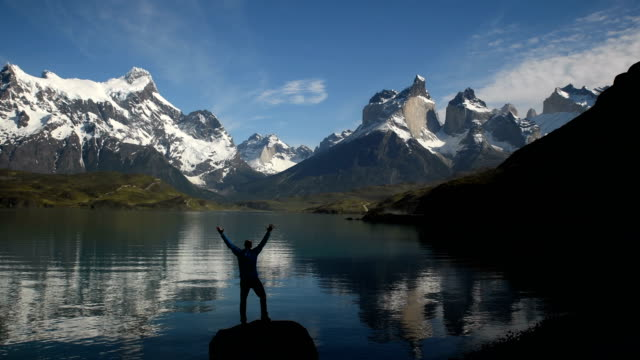 hiking in stunning torres del paine, chile - patagonia chile stock videos and b-roll footage