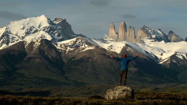 hiking in stunning torres del paine, patagonia - america del sud video stock e b–roll