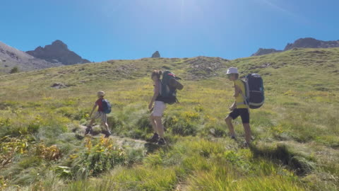 hiking in the mountains in summer - tracking shot stock videos & royalty-free footage