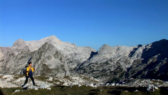 hd: hiking in the mountains - triglav national park stock videos and b-roll footage