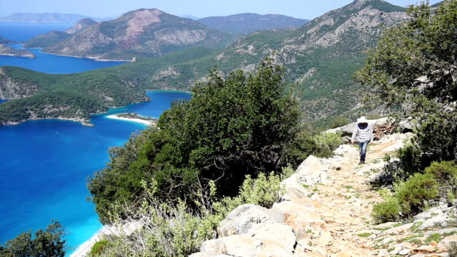 hiking on ancient lycian way. - oludeniz stock videos and b-roll footage