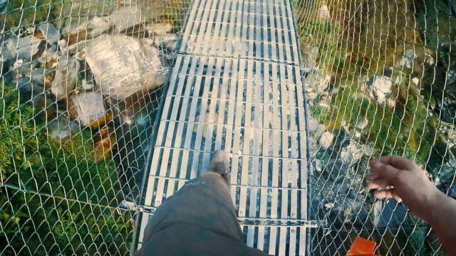 Hiking over the bridge