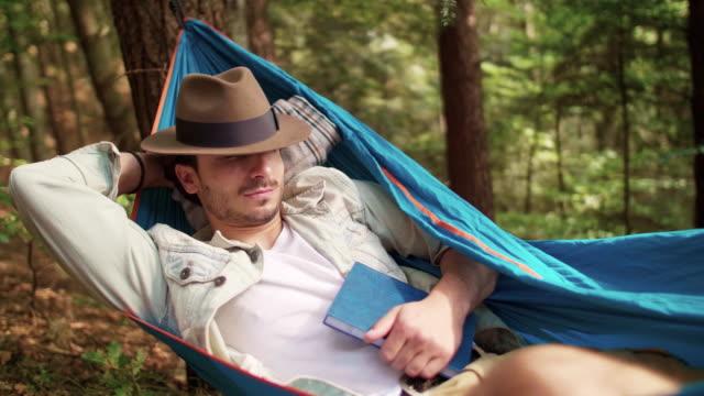 hiking, przadki, poland - hammock stock videos & royalty-free footage