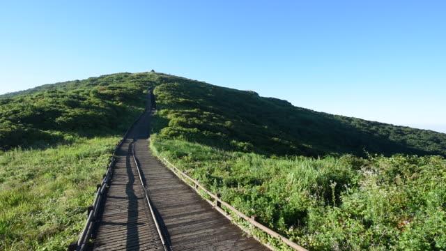 hiking trail to nogodan peak in jirisan mountain / jeollanam-do, south korea - jeollanam do stock videos & royalty-free footage