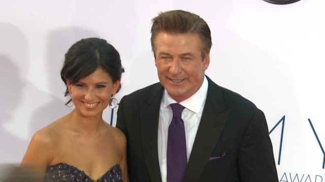 hilaria lynn thomas alec baldwin at 64th primetime emmy awards arrivals on 9/23/12 in los angeles ca - alec baldwin stock videos & royalty-free footage